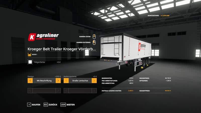 FS 19 Kroger Agroliner SRB35 - Farming Simulator 19 mod, LS19 Mod