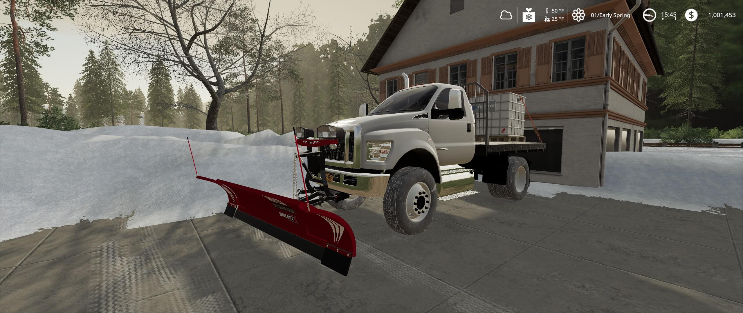 Ford F750 Flatbed Plow Truck v1 0 LS19 - Farming Simulator